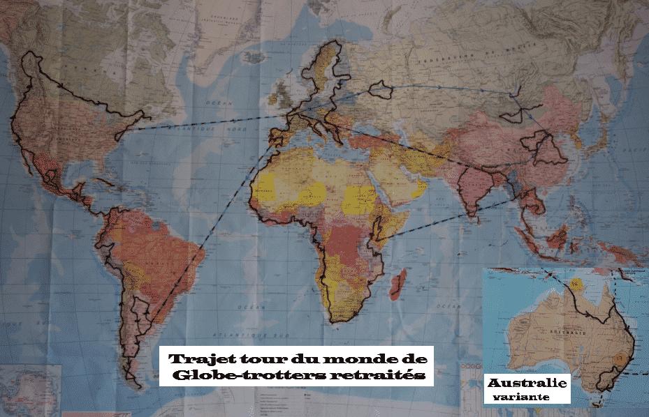 Trajet d'un globe trotter 2021