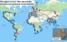 Trajet voyage d'un globe trotter