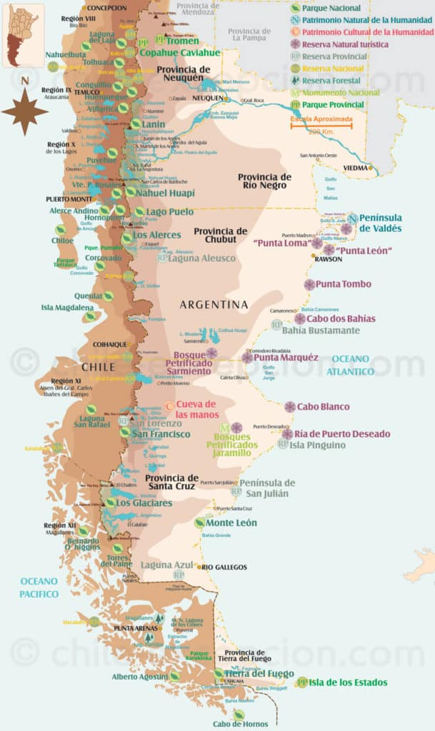La panagonie Chilienne et Argentine la carte