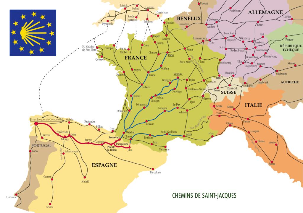 Les chemins de Compostelle en Europe