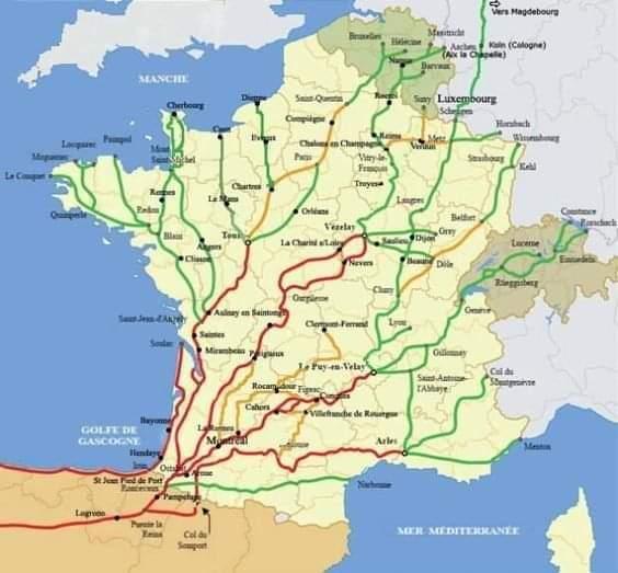 Les chemins de Compostelle et de grandes randonnées en France et belgique