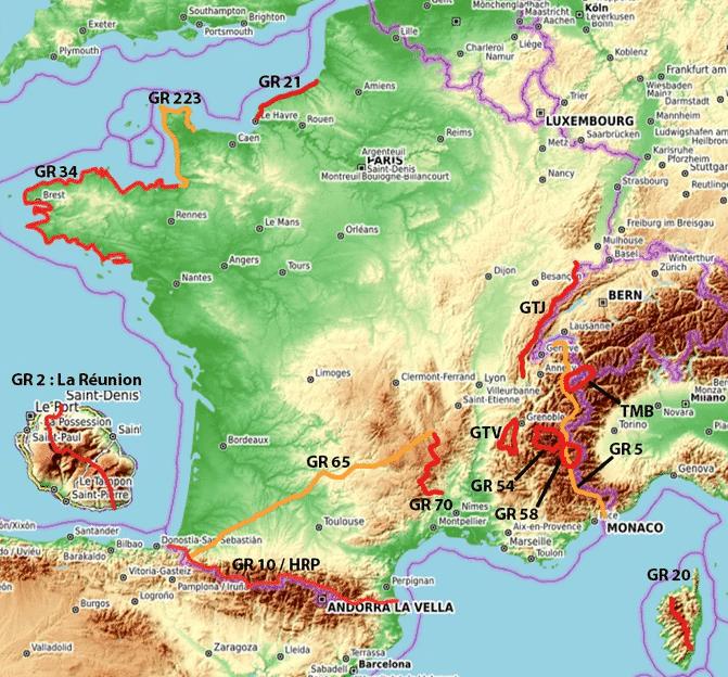 Les chemins de Compostelle et Les chemins de grandes randonnées en Frances