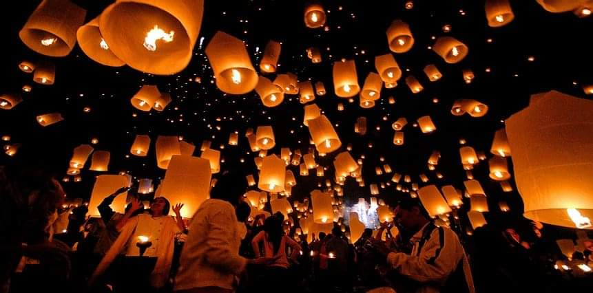 le lachée de lanternes