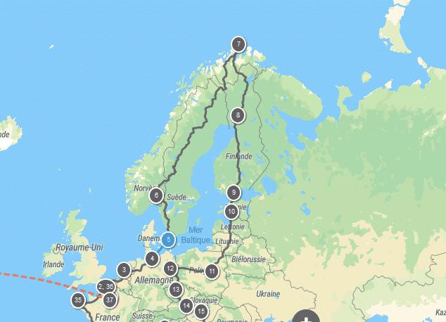 trajet tour du monde 2022 Europe du Nord