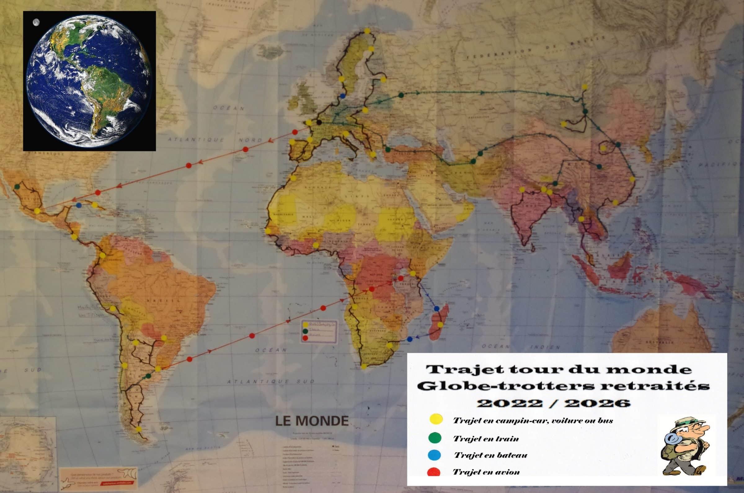 Intinéraire Tour du monde 2022 2026 la carte trajet