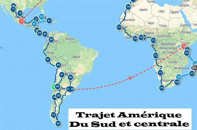 Itinéraire Amérique du sud et centrale