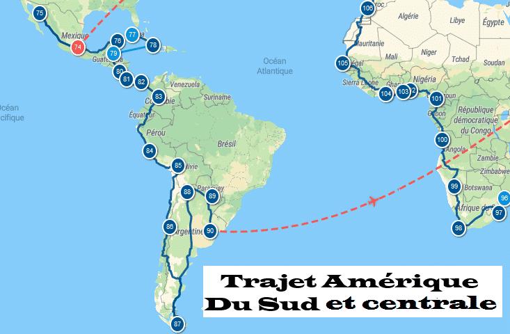 trajet tour du monde 2022 / 2026 TRAJET Amérique du sud et centrale.l