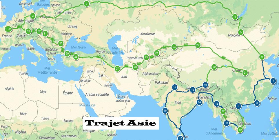 itinéraire tour du monde 2022 / 2026 tour d'Asie